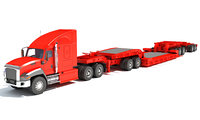 Lowboy Trailer with Semi Truck