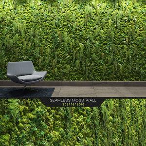 seamless moss wall 3D model