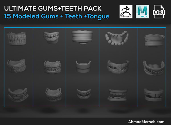 character teeths gums tongues 3d model