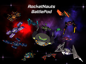 3D atompunk raygun battle pod model