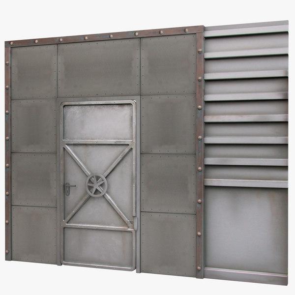 3d model reinforced metal door
