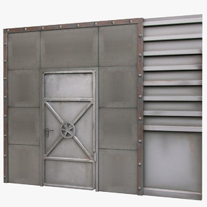 3d model reinforced metal door