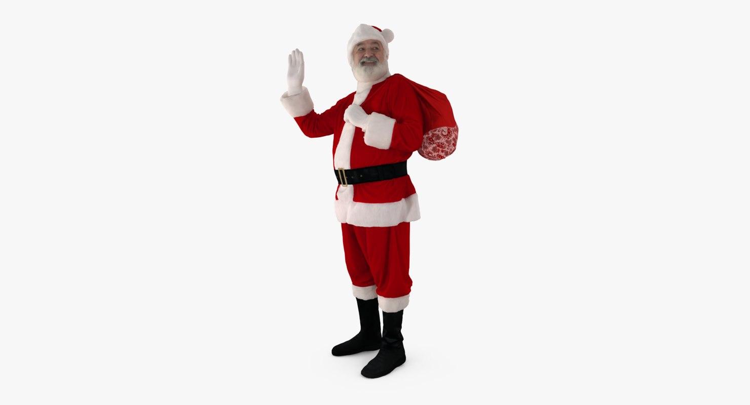 santa claus greeting people human 3d max