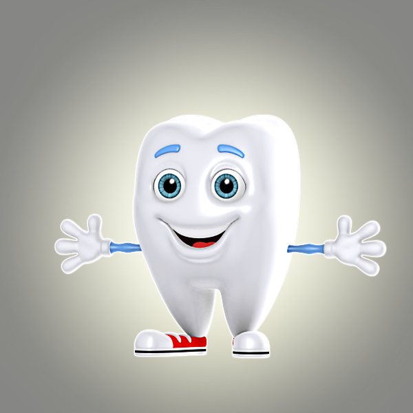 cool cartoon tooth 3d model