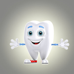 cool cartoon tooth 3d model
