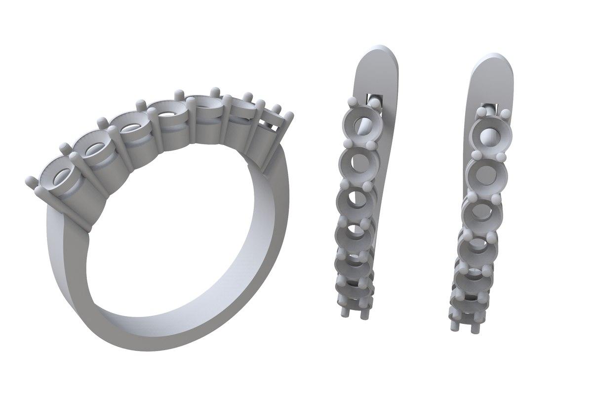 3D model jewelry set earrings ring