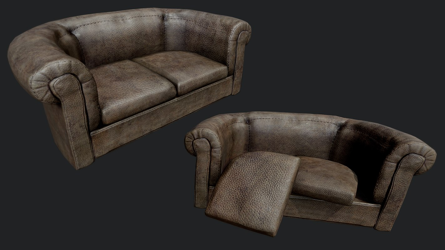 Old Leather Couch Pbr 3d Model Turbosquid 1335599