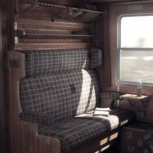 old train interior 3D model