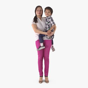 3d model of mother black baby people human