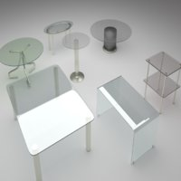 7 glass tables 3D model