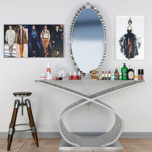 chair furniture mirror 3D model