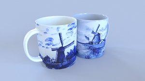 delft blue mugs model