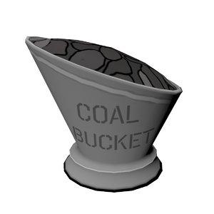 3D cartoon coal bucket model