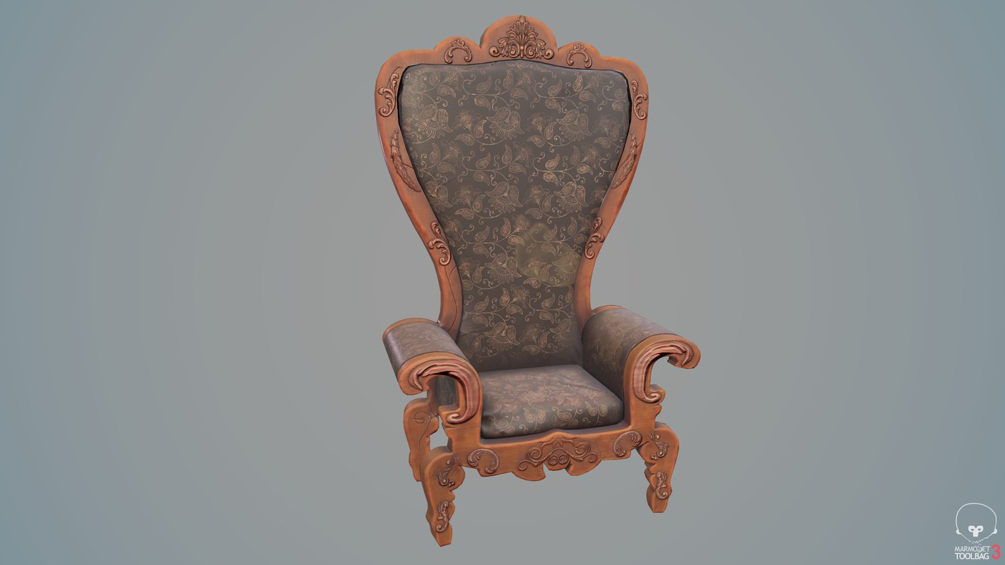 3D vintage rocco throne