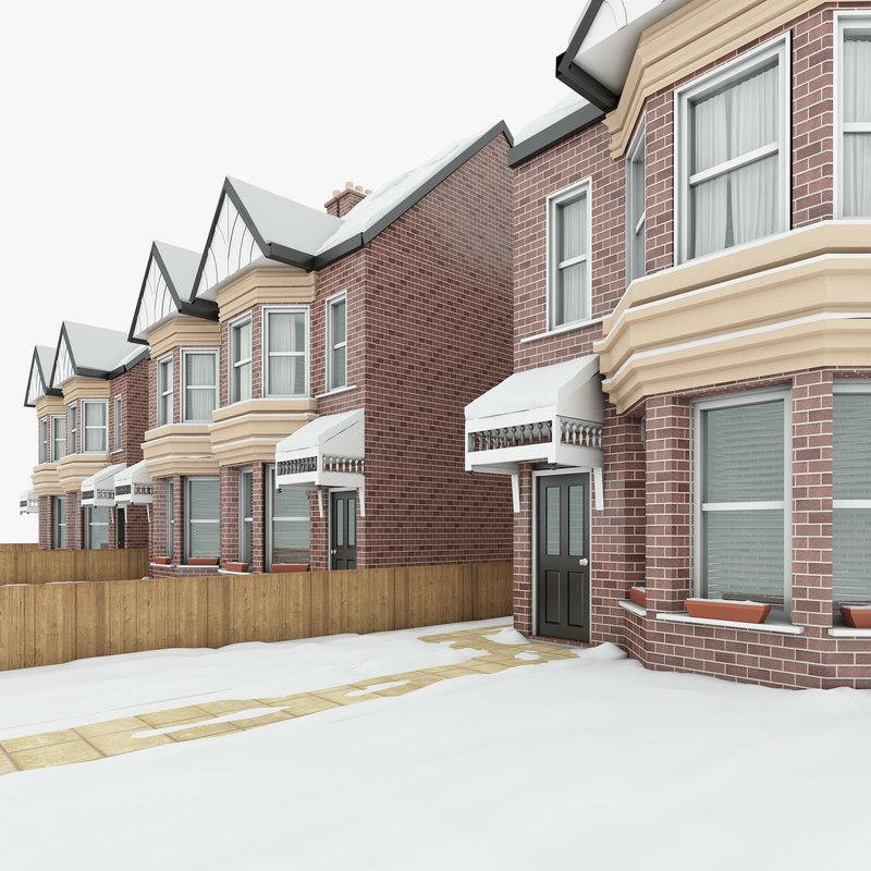 3D model winter house scene