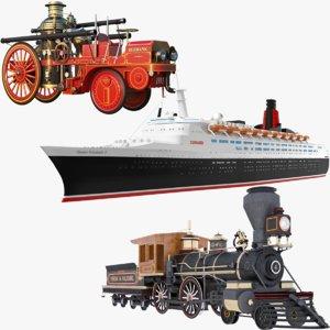 steam vehicles train cruise ship 3D model