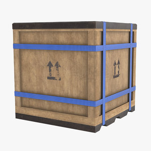 3D wooden cargo box model