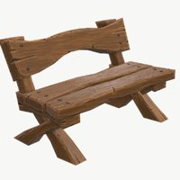 cartoony wooden bench 3D model