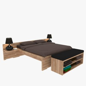 wooden double bed model