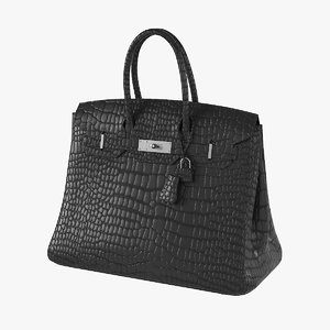 3D hermes matte black porosus model