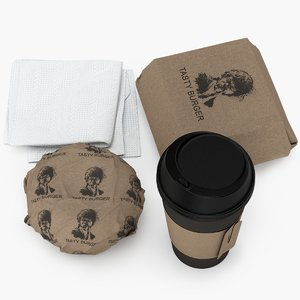 3D burger coffee cup mockup