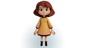 cartoon girl character face 3D