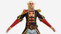Game Character White Elf Leather Coat Cavalier