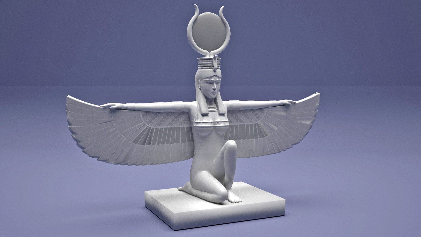 3D ancient egyptian isis wings