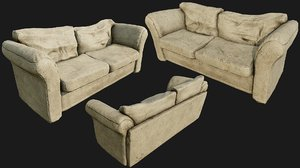old cotton couch pbr 3D model