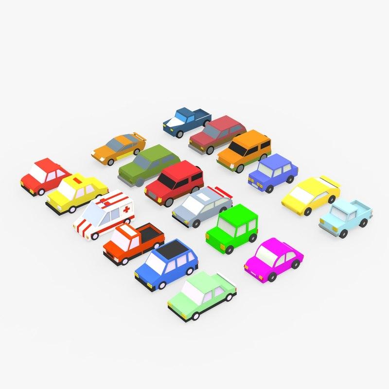 17 cartoon cars 3D model