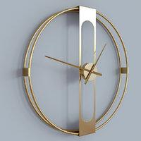 wall clock gold silver 3D model