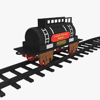Toy Train Tank with Rails 3D Model