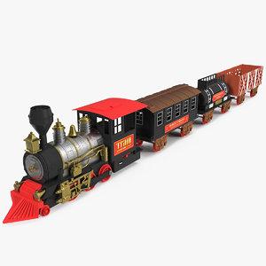 3D toy train wagons model