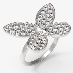 3D ring marquise gold model