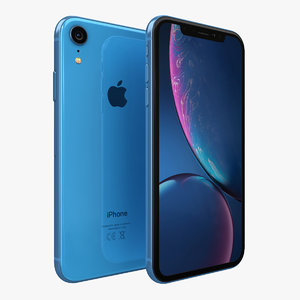 3D apple iphone xr blue model