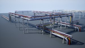 modular industrial ue4 pipeline 3D model