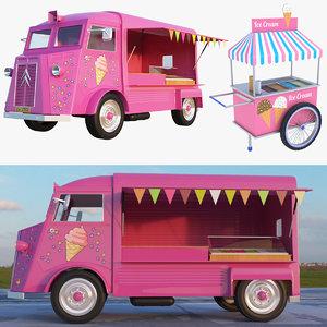 3D model ice cream truck cart