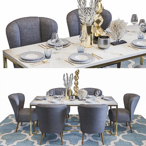3D luxury restaurant table set