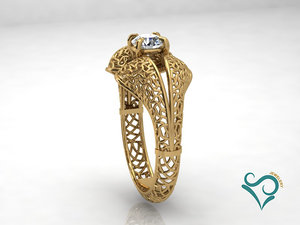 3D gold ring printable jewel model