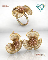 Gold earrings and ring wedding Jewellry 3d printable