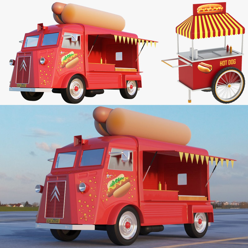 3D ice cream truck cart model