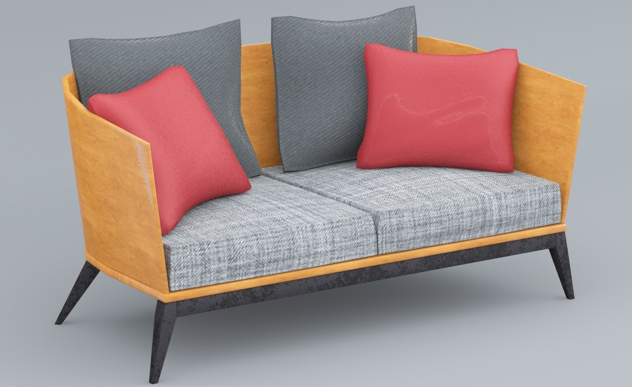 wooden sofa low-poly 3D model
