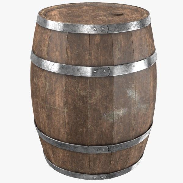 real wooden barrel 3D