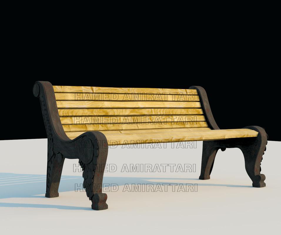 bench metal wood 3D model