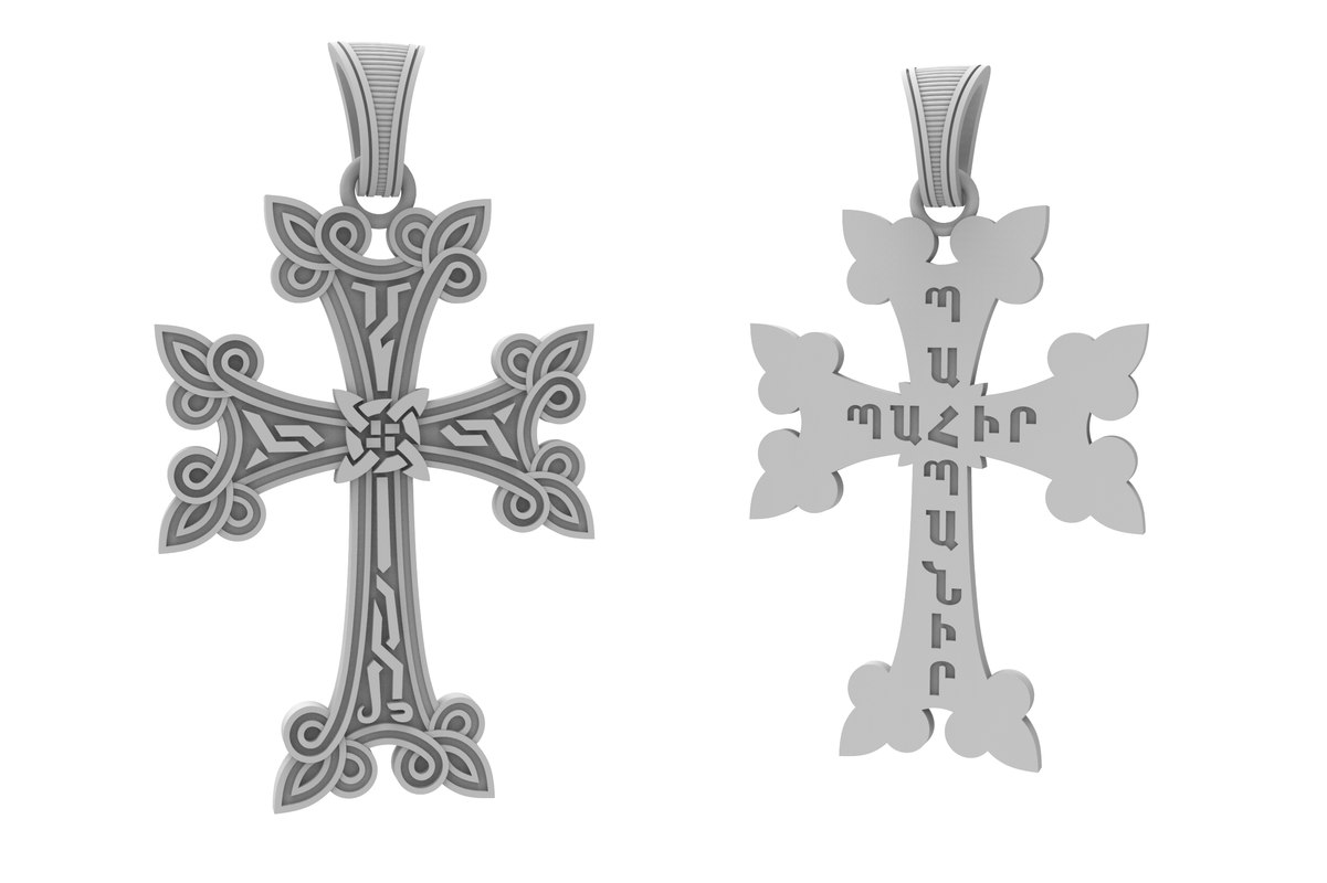 3D jewelry armenian cross patterns