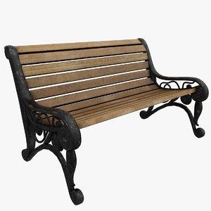 3D garden park bench model