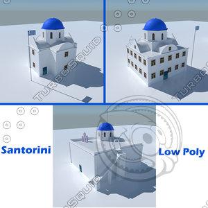blue dome church santorini 3D model
