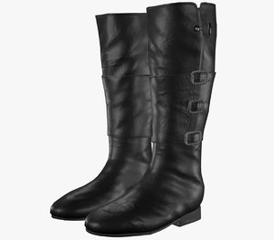 3D model black leather boots 1