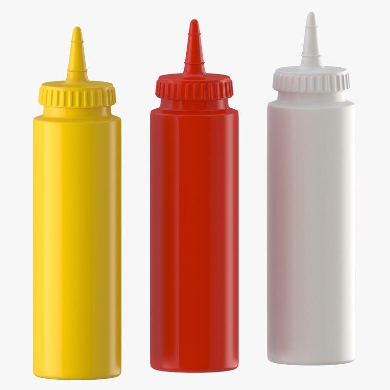 3D condiment bottles