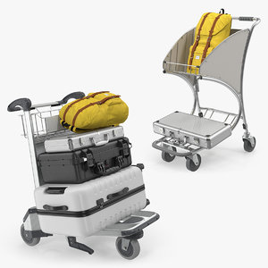 airport luggage trolley baggage 3D model